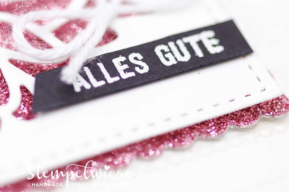 Geburtstagskarte mit Glitzerpapier und Spitzenbordüre Delicate Details - Stampin' Up! - Stempelwiese