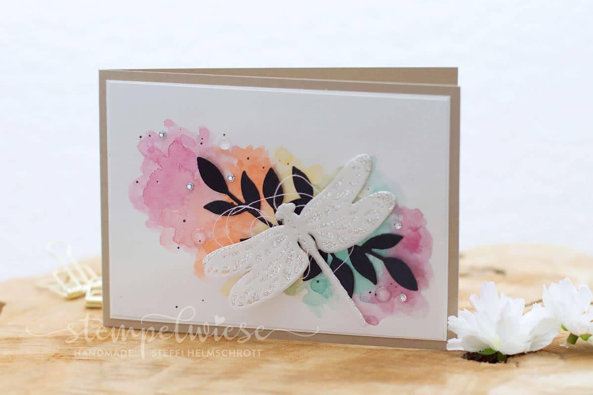 Glückwunschkarte mit Libelle - Regenbogen Hintergrund - Aquarell - Stampin' Up! - Stempelwiese