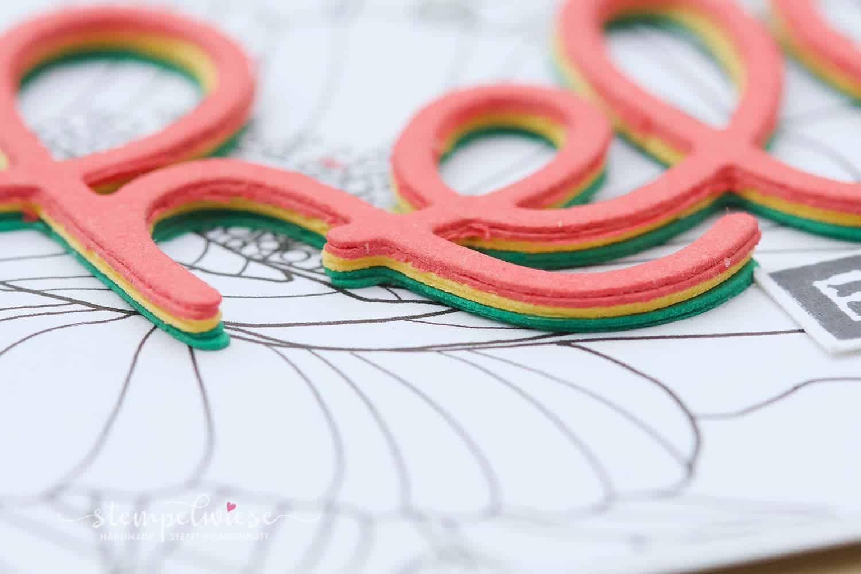 Grußkarte mit 3D Text - Kreativ Koloriert Designerpapier - Stampin' Up! - Stempelwiese