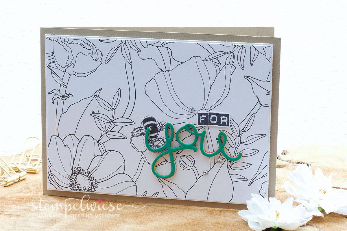 Grußkarte mit 3D Text - For You - Kreativ Koloriert Designerpapier - Stampin' Up! - Stempelwiese