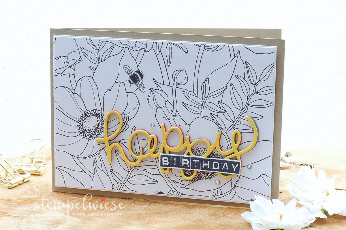 Grußkarte mit 3D Text - Happy Birthday - Kreativ Koloriert Designerpapier - Stampin' Up! - Stempelwiese