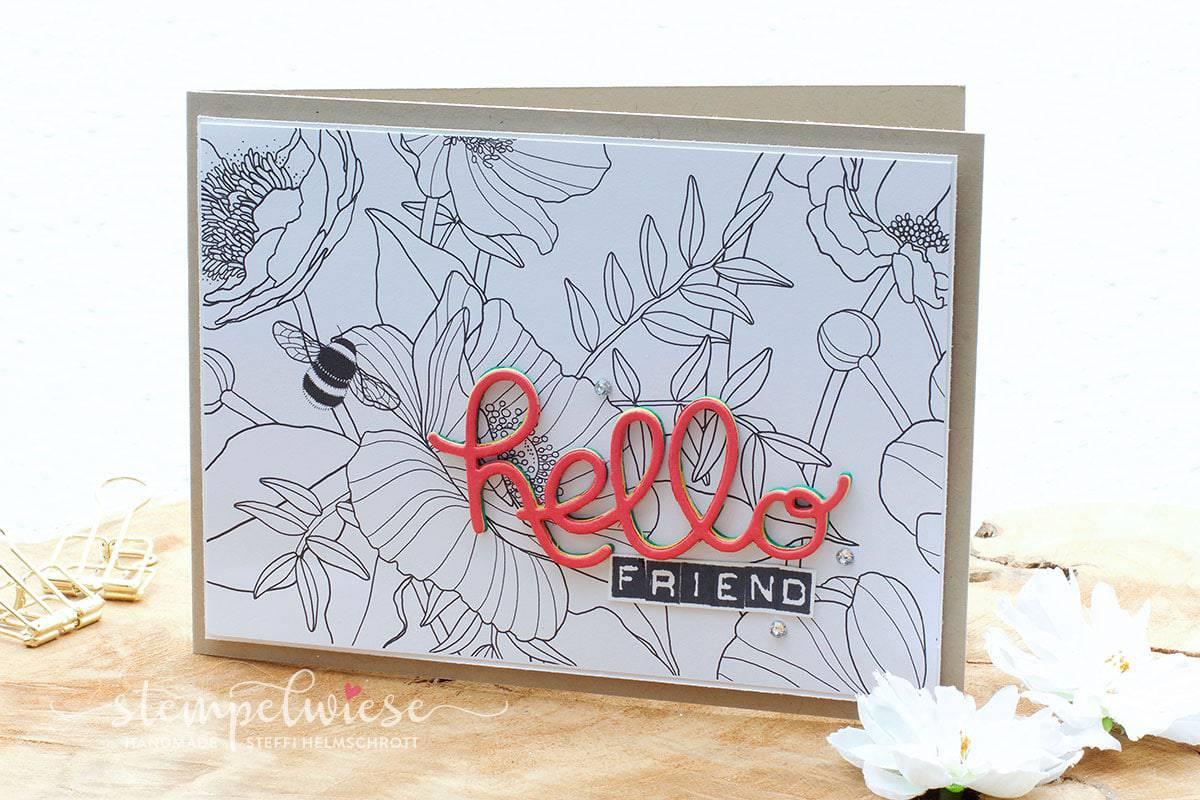 Grußkarte mit 3D Text - Hello Friend - Kreativ Koloriert Designerpapier - Stampin' Up! - Stempelwiese
