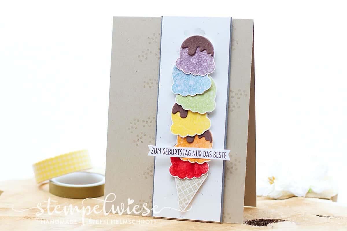 Geburtstagskarte mit bunten Eiskugeln - Ei, Eis, Baby! - Regenbogen - Stampin' Up! - Stempelwiese
