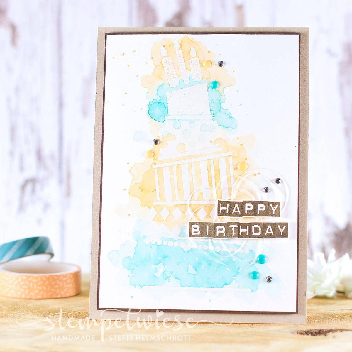Geburtstagskarte mit Torte - Cake Crazy - Lack Akzente - Stampin' Up! - Stempelwiese
