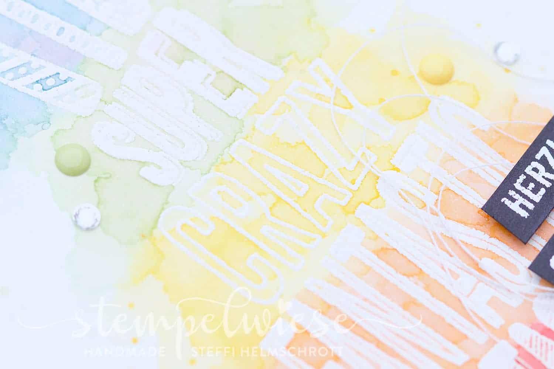 Geburtstagskarte mit regenbogenfarbener Torte - Rainbow - Aquarell - Stampin' Up! - Stempelwiese - Cake Crazy