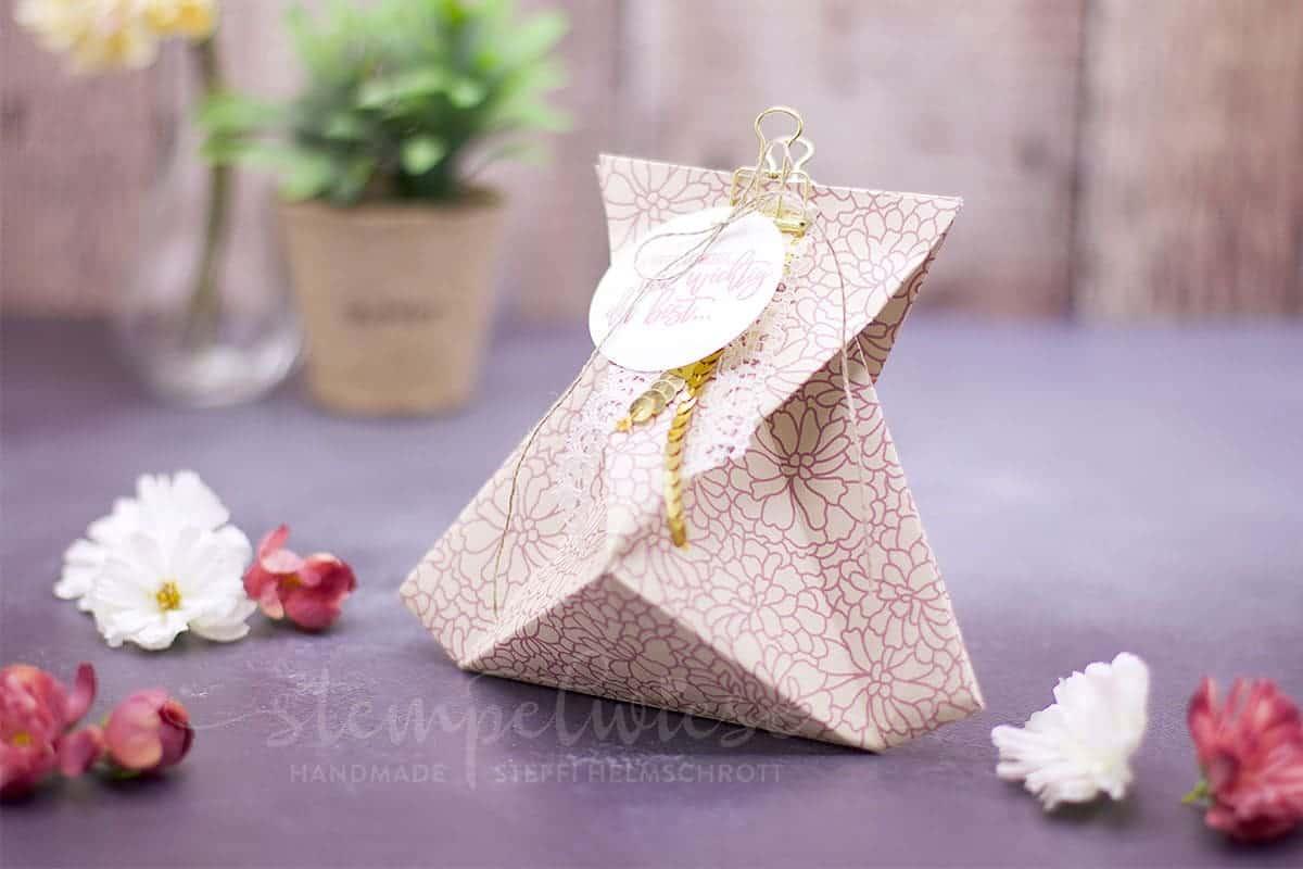 Origami Geschenktüte zum Muttertag mit Video zum nacharbeiten - #stampinup #stempelwiese #muttertag #origami #verpackung