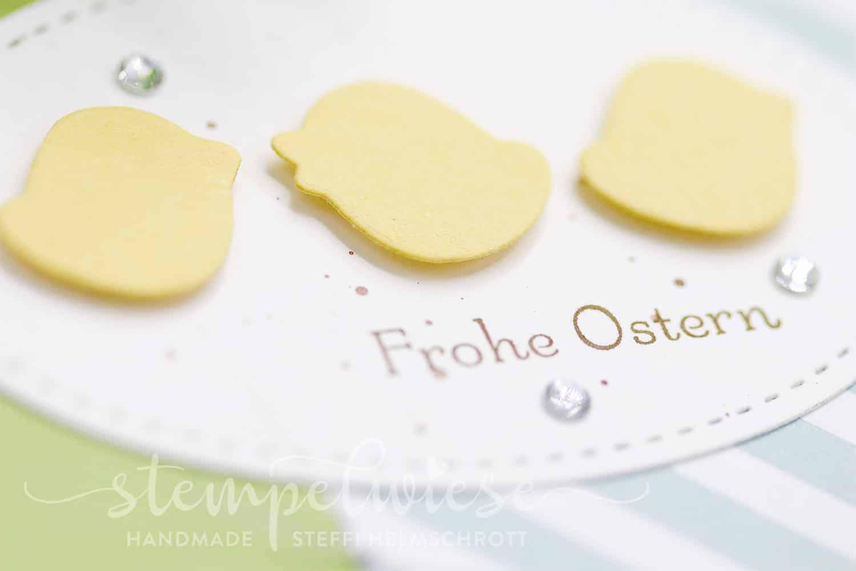 Osterkarte mit drei Küken aus dem Thinlitsset Osterkörbchen - Stampin' Up! - Stempelwiese