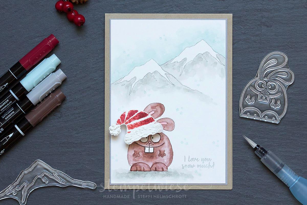 Weihnachtskarte mit Schneehasen 1