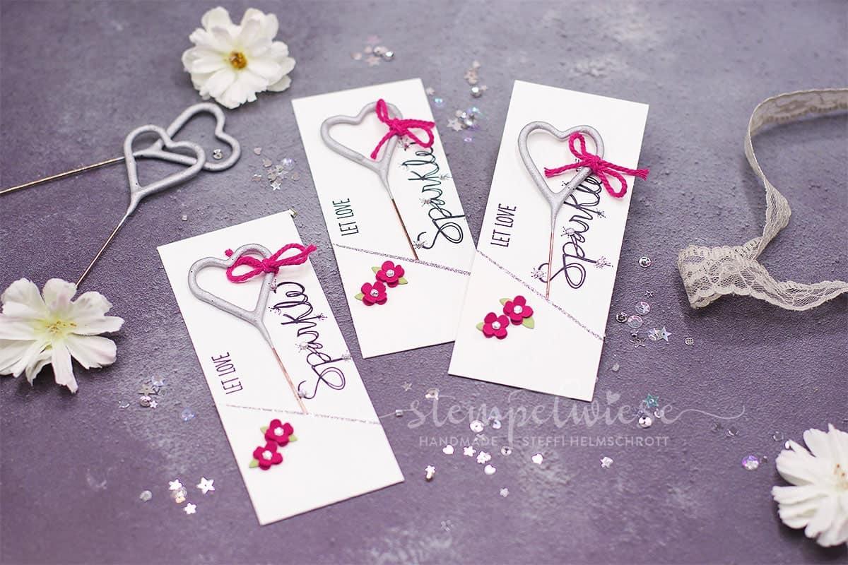 Wunderkerzen zu Hochzeit - Wedding Sparkler - Herzförmige Wunderkerzen - Stampin' Up! - Stempelwiese