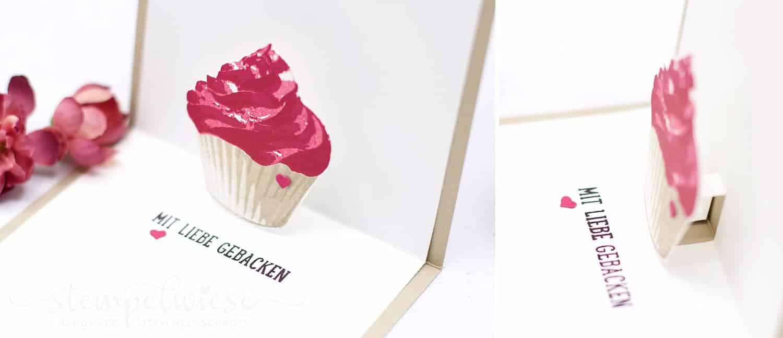 Geburtstagskarte mit Cupcake und Pop up innen