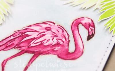 Grusskarte mit einem Flamingo #GDP93