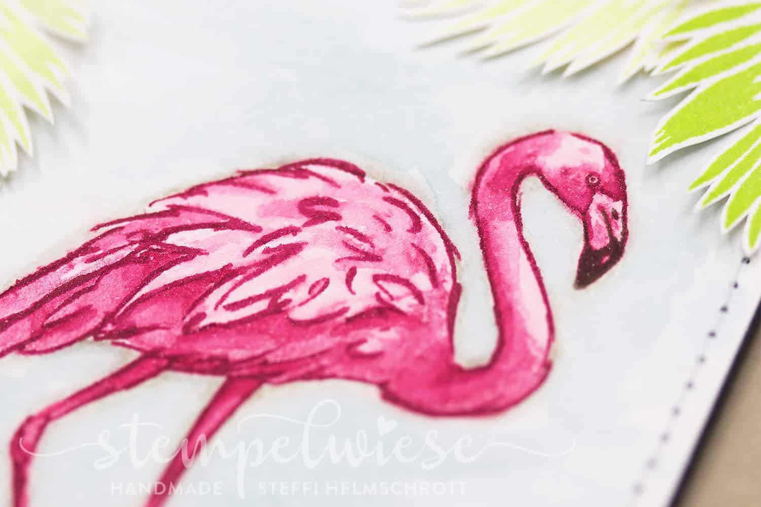 Beste Freundinnen - Karte mit einem Flamingo in Aquarell - Flamingo Fantasie Stampin' Up!