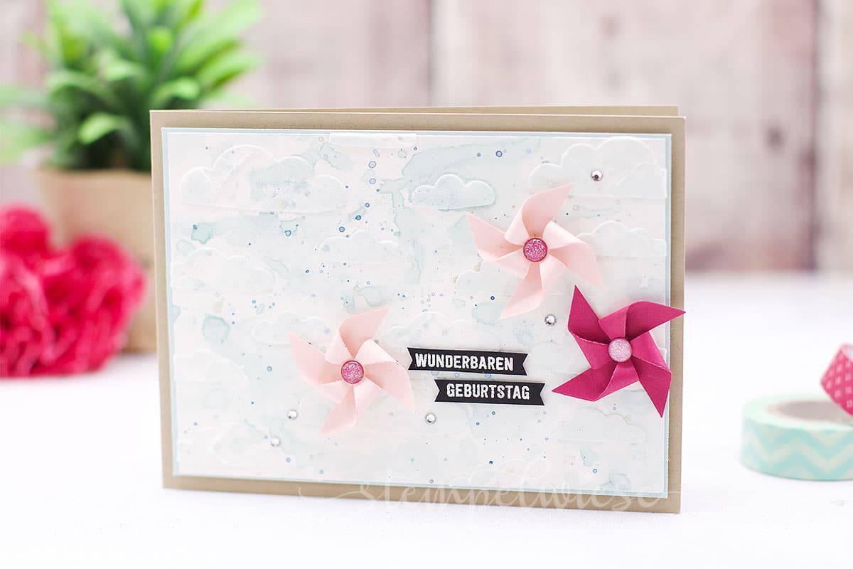 Geburtstagskarte mit Windrad - Pinwheel - Strukturpaste - Stempelwiese