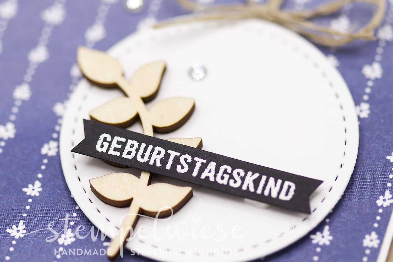 Geburtstagskarte mit Zweig aus Holz - Gänseblümchen - Stempelwiese - Stampin' Up!