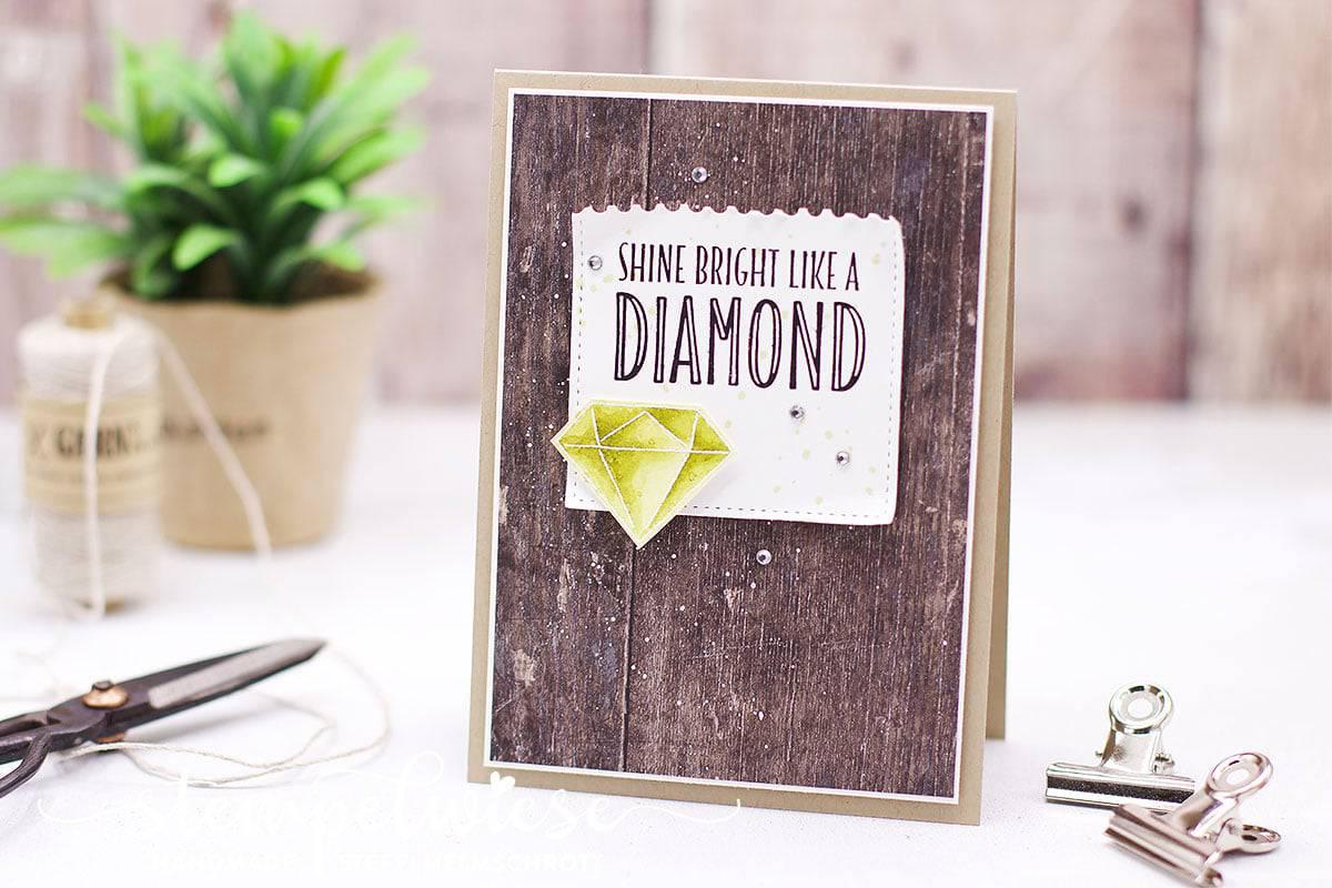 shine bright like a diamond - Grußkarte - You're priceless - Aquarell - Stempelwiese