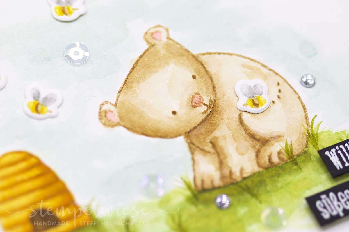 Babykarte mit Bär und Bienen - Aquarell - Tierische Glückwünsche - Stempelwiese
