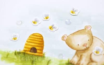Babykarte mit Bär und Bienen #GDP95