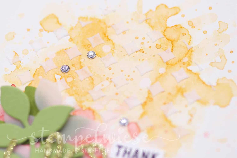 Dankeskarte mit Embossingpaste - Aquarell - Stempelwiese - Gold - Zweige