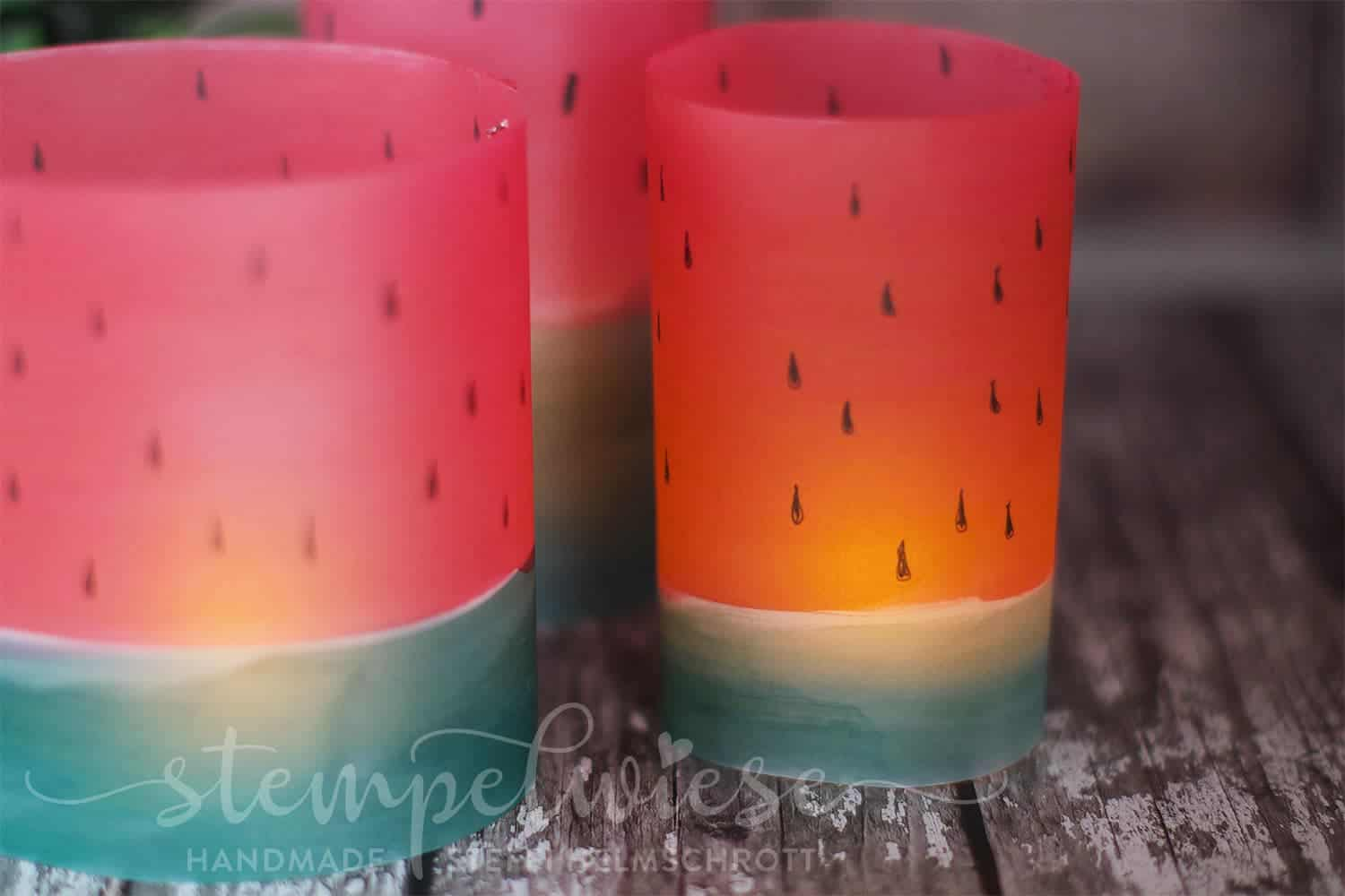 Windlicht Wassermelone - Aquarell - Pergament - Video - Stampin' Up!  - Stempelwiese