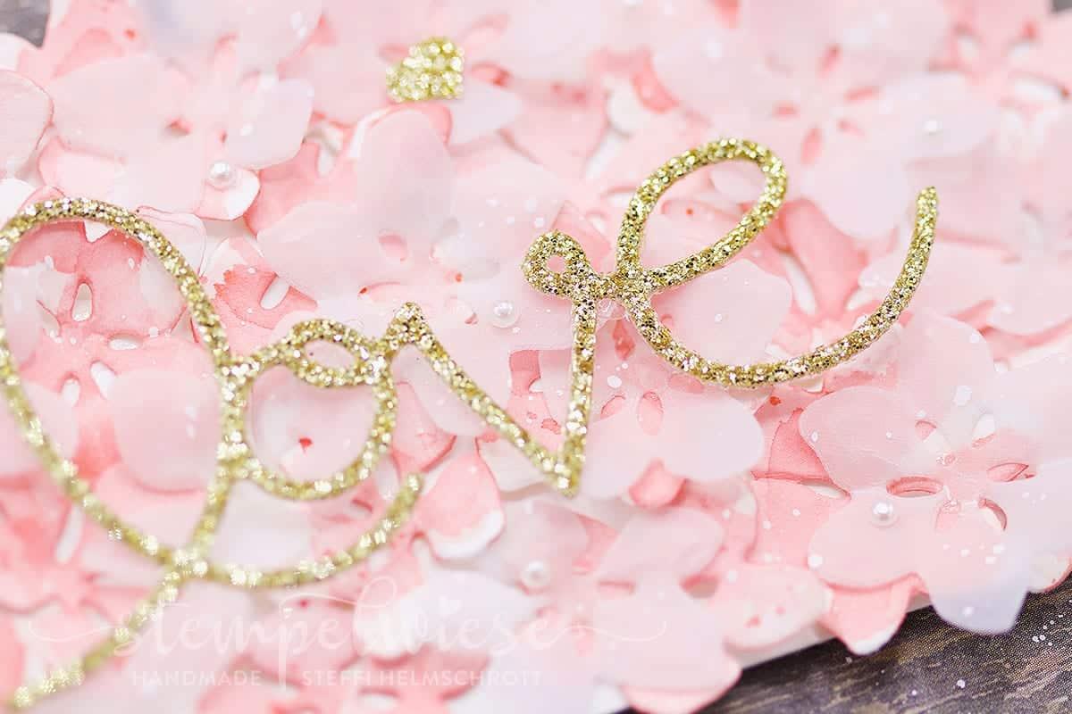 Goldene Hochzeit Glückwunschkarte - Glitzerpapier - Golden Wedding - Stampin' Up!  - Stempelwiese