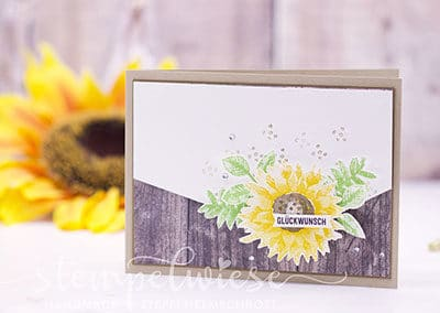 Geburtstagskarte-Sonnenblume-Holz
