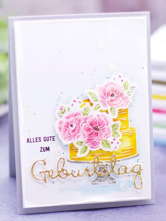 Geburtstagskarte mit Torte & Blumen 1