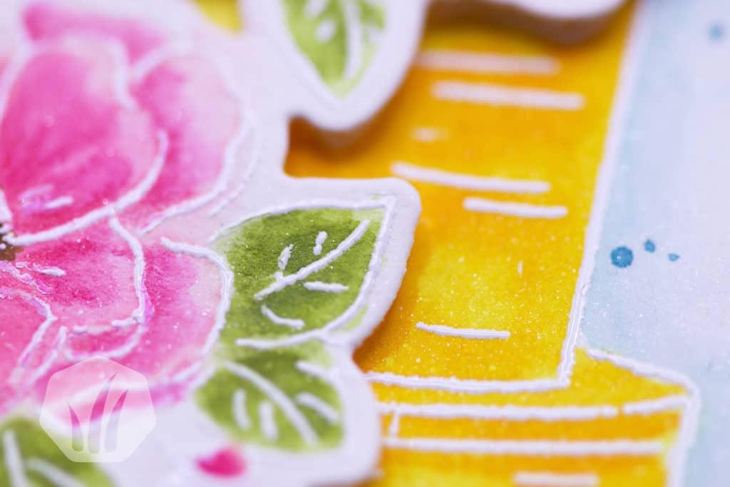 Geburtstagskarte mit Torte und Blumen: Deatilansicht Blumen