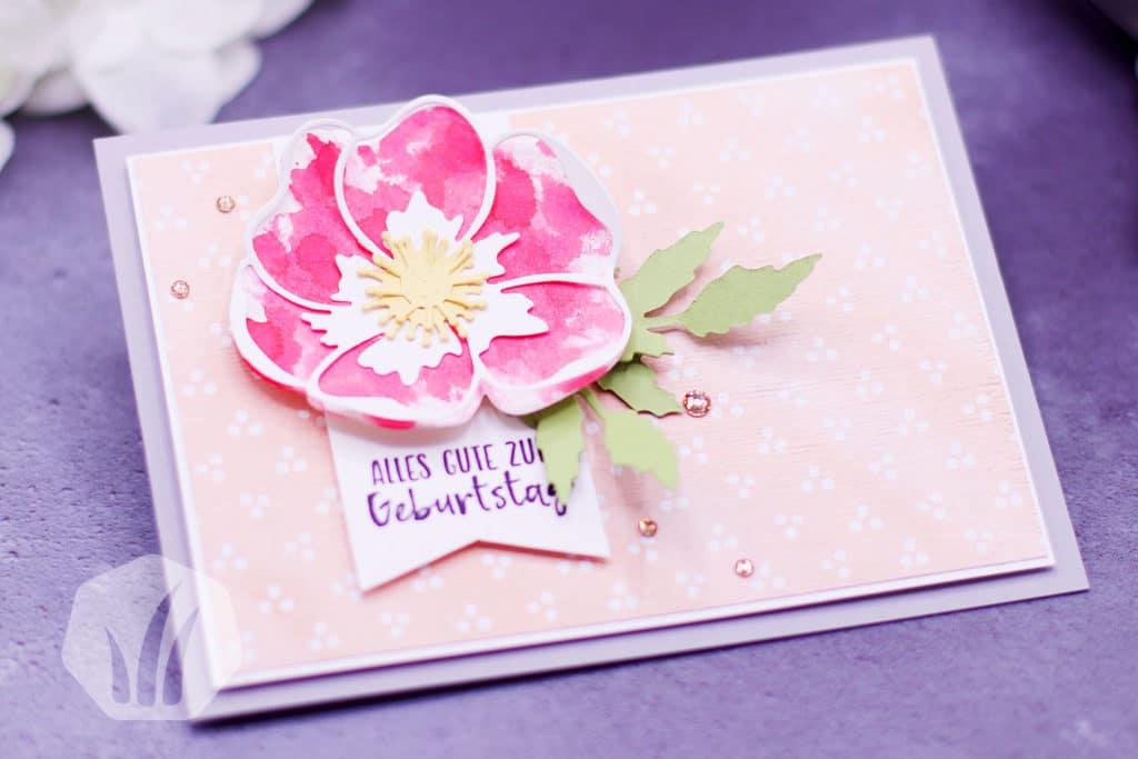 Schnelle Geburtstagskarte Mohnblütenzauber