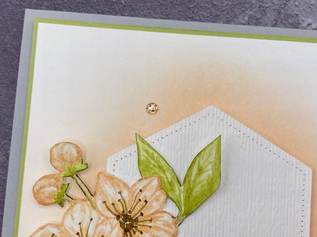 Grusskarte Ewige Blüte: Detail Strassstein