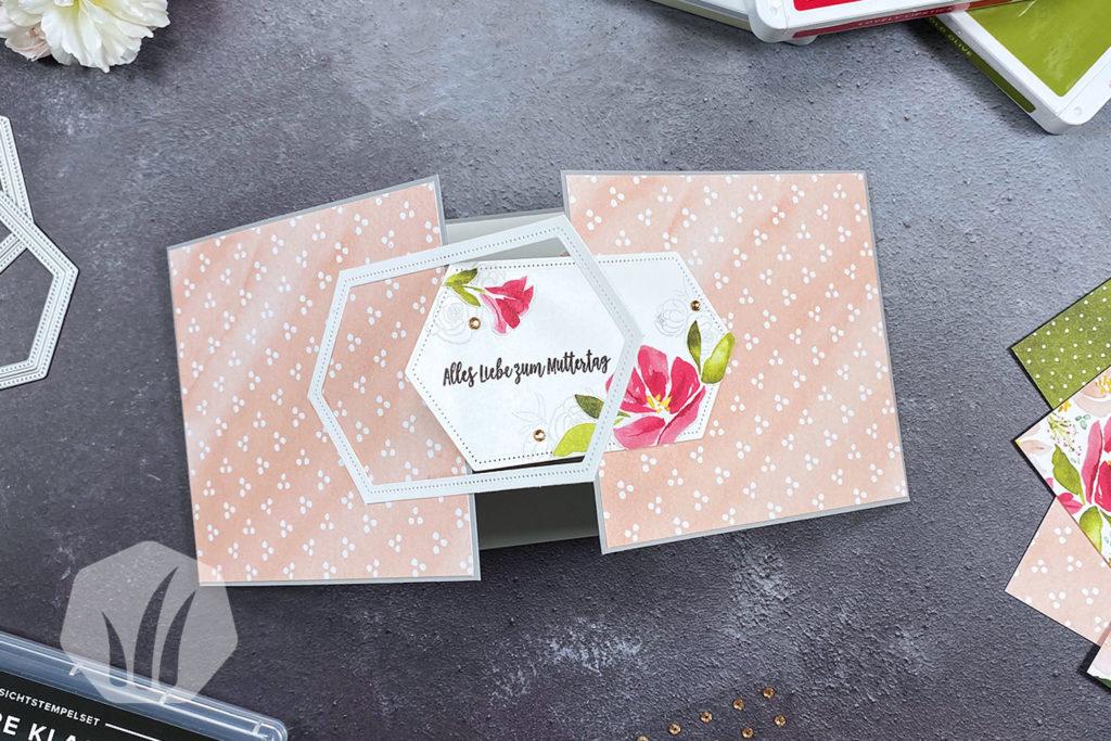 Blumige Muttertagskarte mit Verschluss 3