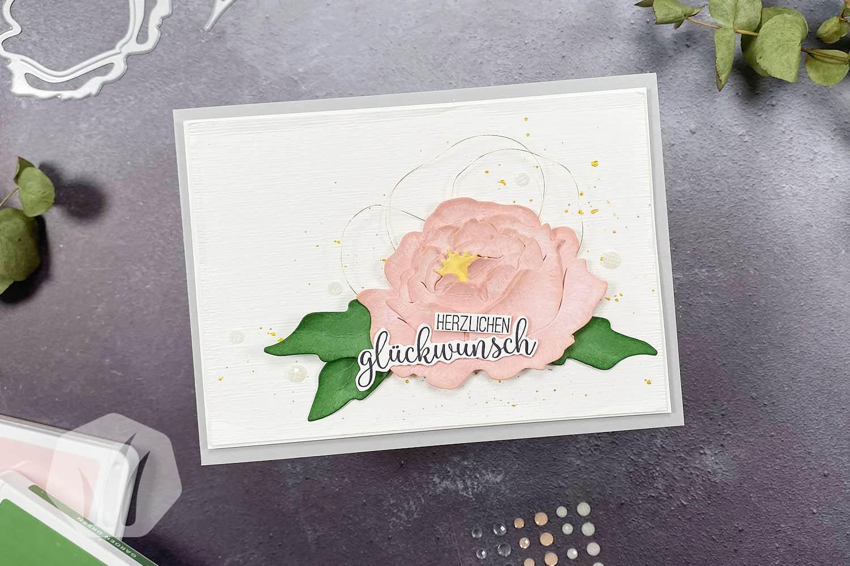 Geburtstagskarte: 3D Pfingstrose