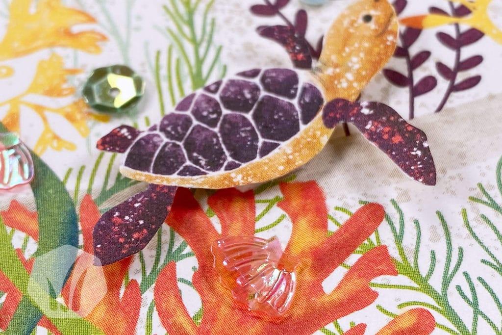 Dankeskarte unter dem Meer: Detail Schildkröte