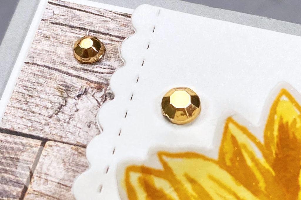 Grußkarte: Gute Laune Gruss mit Sonnenblume Detail Strass