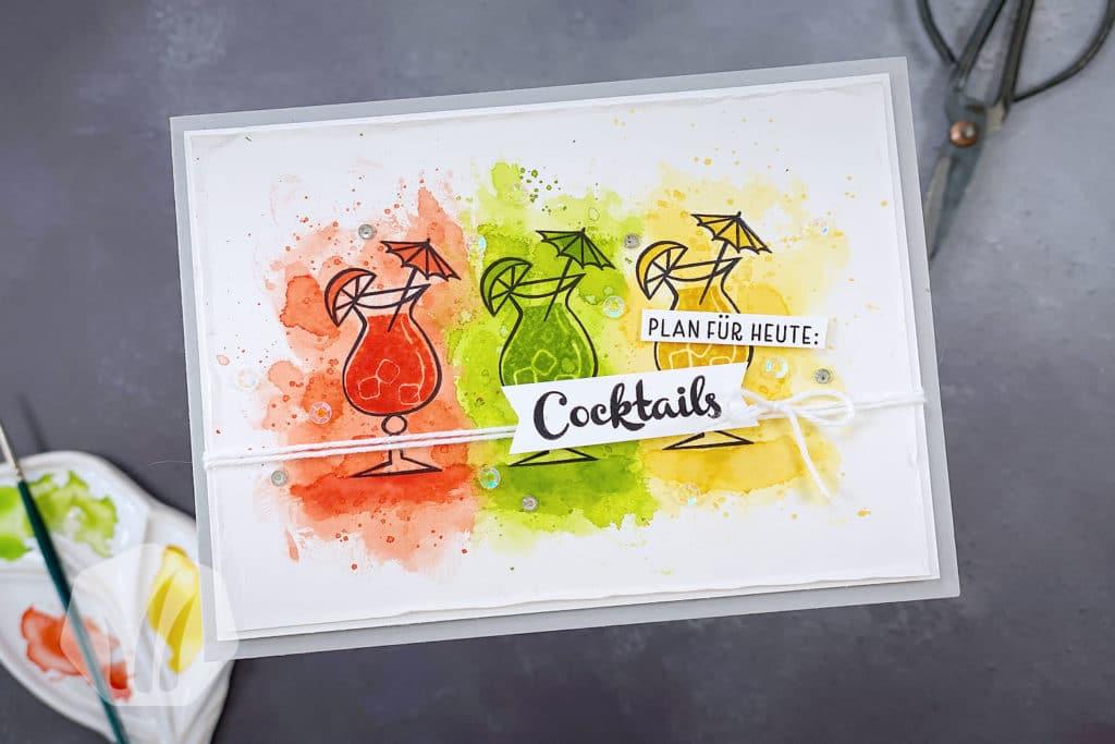 Einladungskarte zum Mädelsabend mit Cocktails