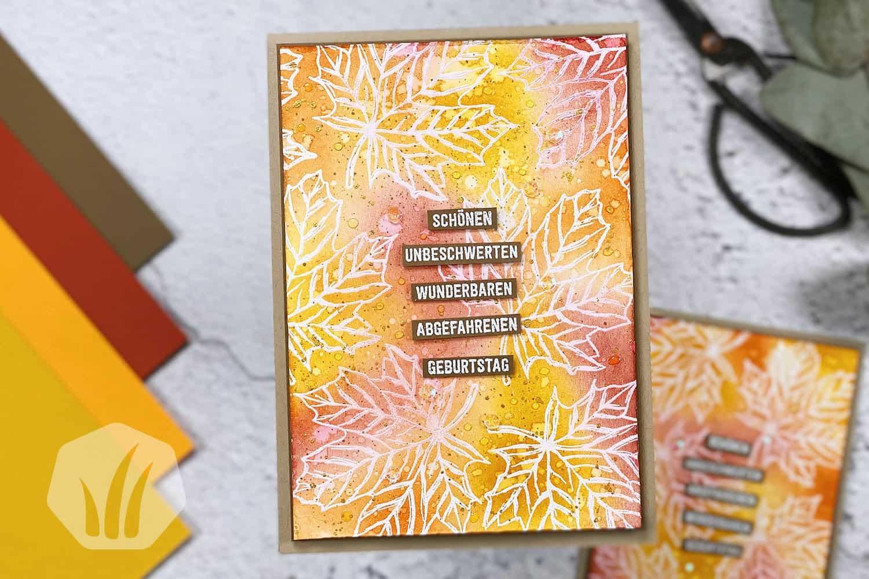 Geburtstagskarte mit herbstlichem Aquarellhintergrund