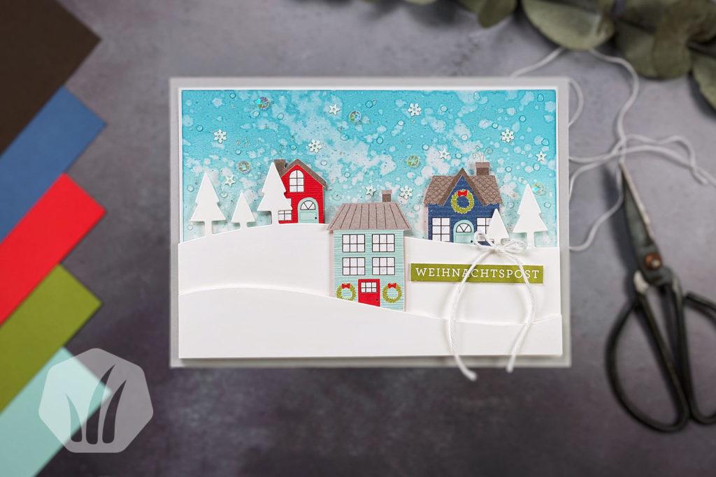 Weihnachtskarte: Weihnachtspost Adventsstädtchen