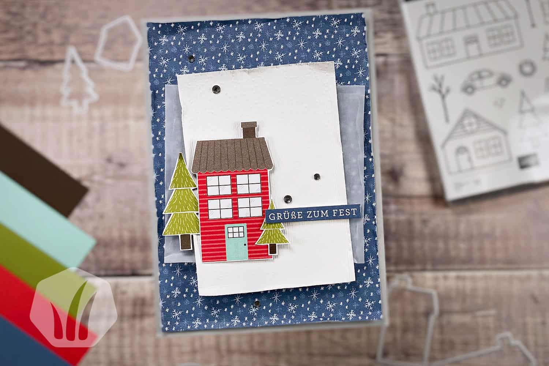Weihnachtskarte Adventsstädtchen: Grüße zum Fest