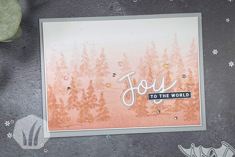 Weihnachtskarte Winterwald Joy To The World