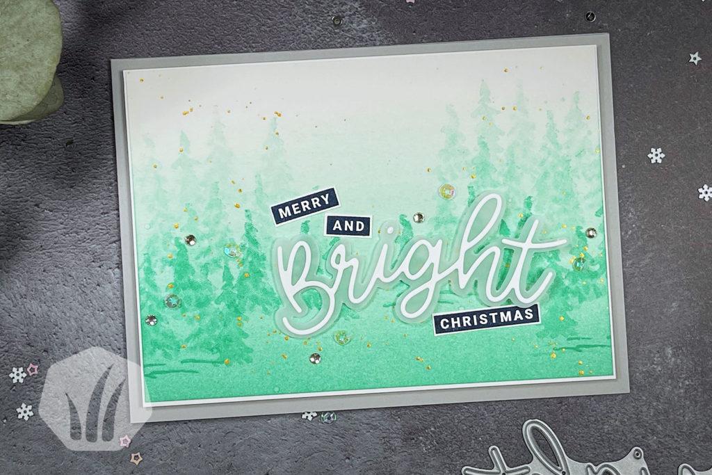 Weihnachtskarte Winterwald Merry And Bright Christmas