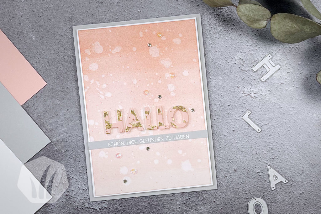 Grußkarte Hallo mit Blattgold