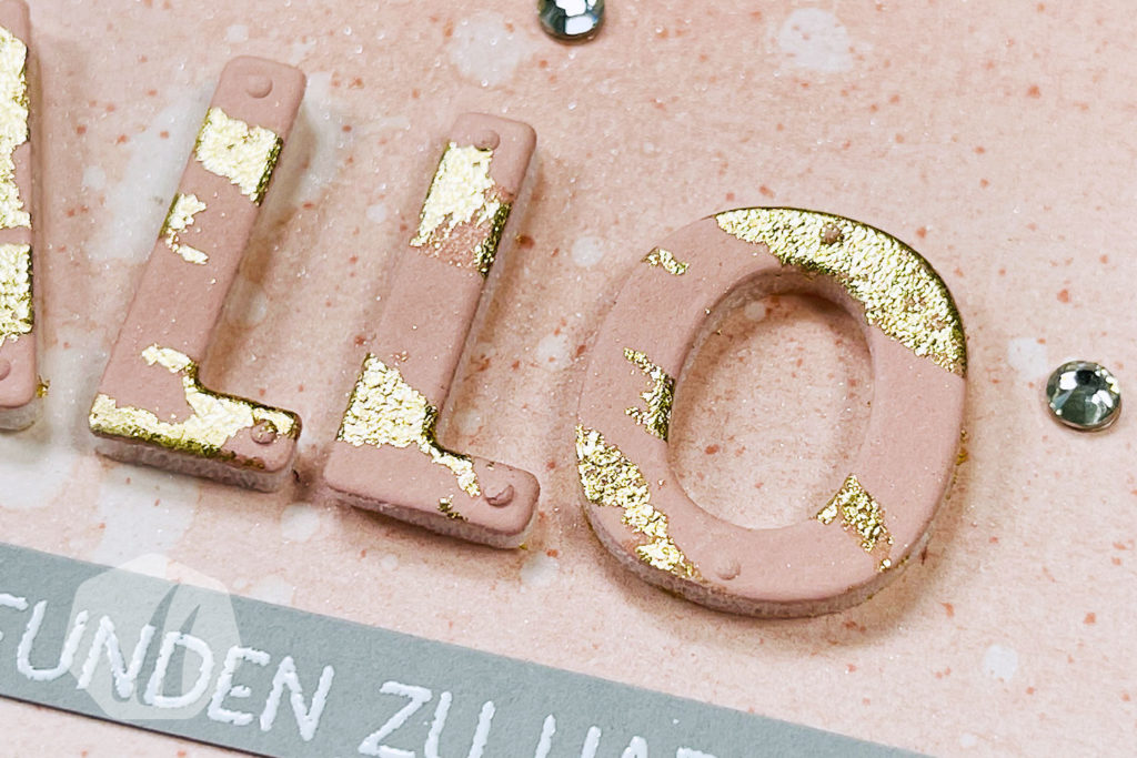 Grußkarte Hallo mit Blattgold Buchstaben