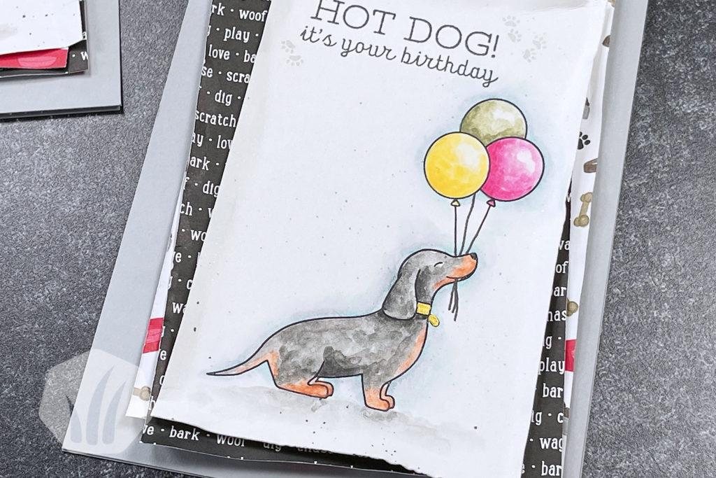Hot Dog: Geburtstagskarte mit Dackel, Detail Aquarell