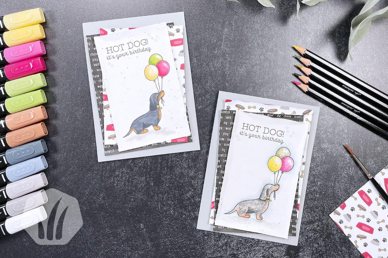 Hot Dog: Geburtstagskarte mit Dackel