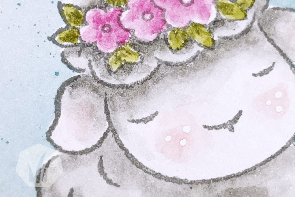 Osterkarte Maskierungstechnik Springtime Joy Detail Schaf