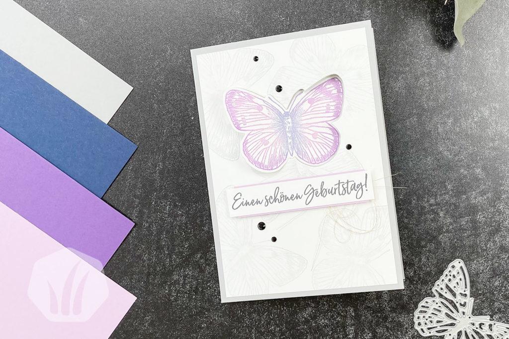 Swing Fold Geburtstagskarte mit Schmetterlingsmotiv