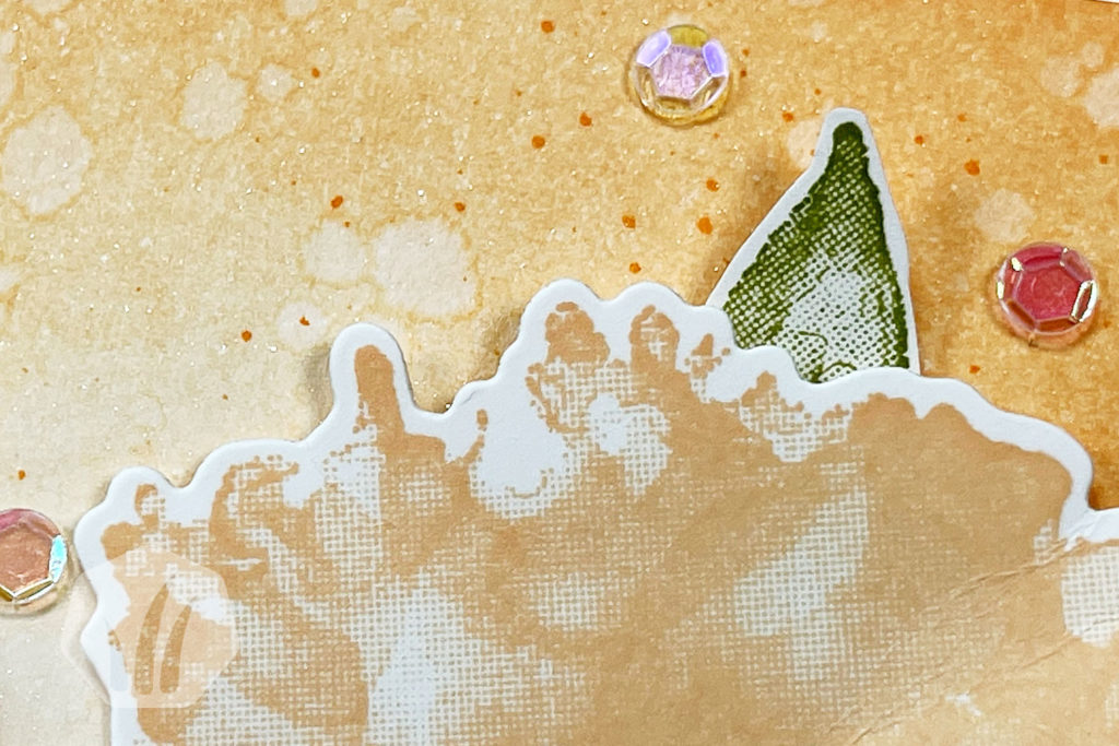 Geburtstagskarte Papaya mit Kunstvoll Koloriert: Detail Hintergrund
