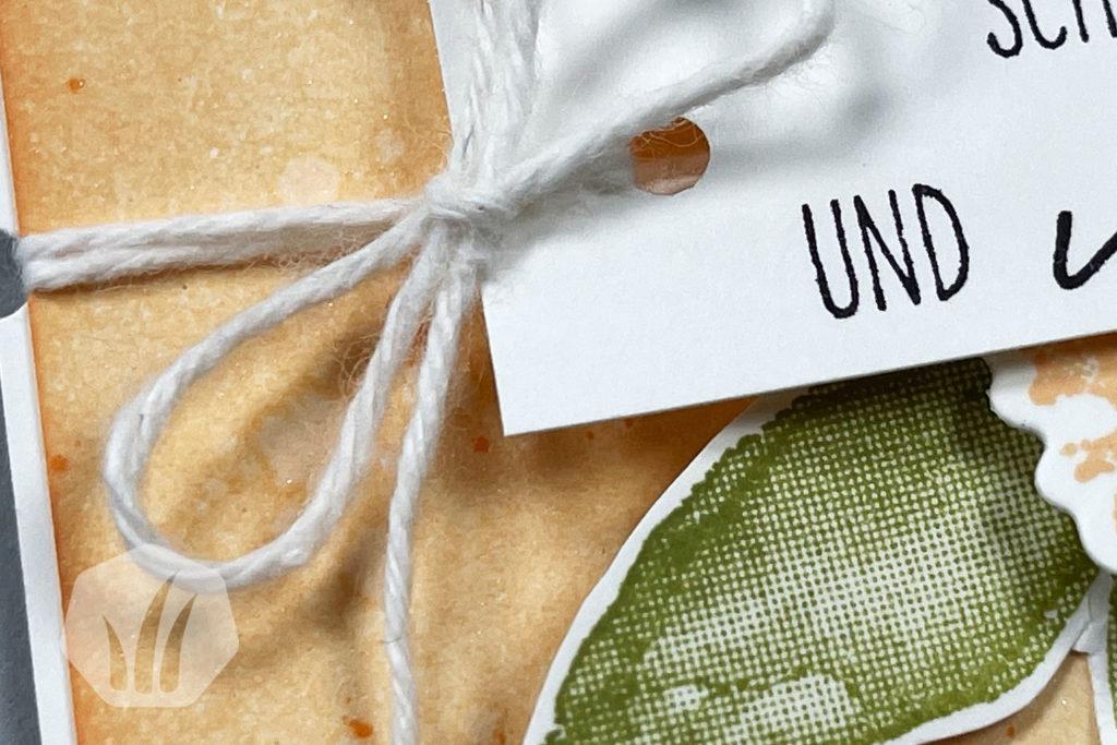 Geburtstagskarte Papaya mit Kunstvoll Koloriert: Detail Text