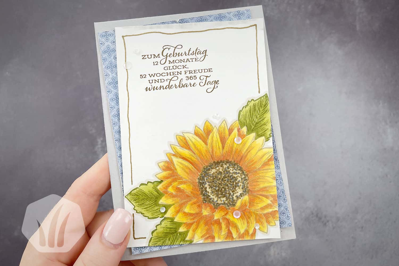 Geburtstagskarte Sonnenblume: Koloriert mit Stampin Blends (Alkoholmarker)